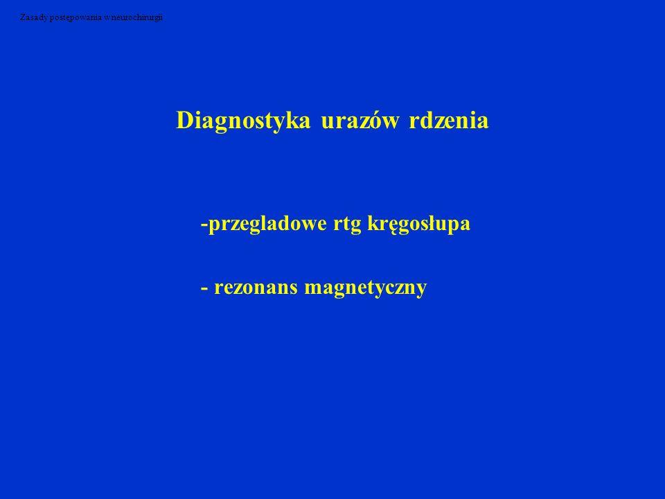 Zasady postępowania w neurochirurgii Diagnostyka urazów rdzenia -przegladowe rtg kręgosłupa - rezonans magnetyczny
