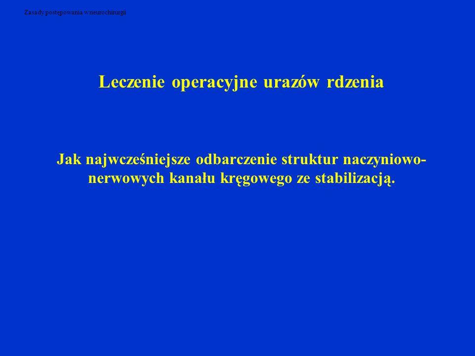 Zasady postępowania w neurochirurgii Leczenie operacyjne urazów rdzenia Jak najwcześniejsze odbarczenie struktur naczyniowo- nerwowych kanału kręgoweg