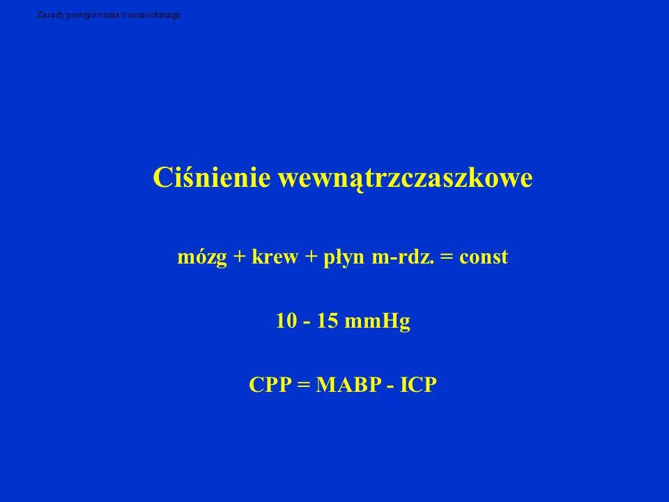 Zasady postępowania w neurochirurgii Ciśnienie wewnątrzczaszkowe mózg + krew + płyn m-rdz. = const 10 - 15 mmHg CPP = MABP - ICP
