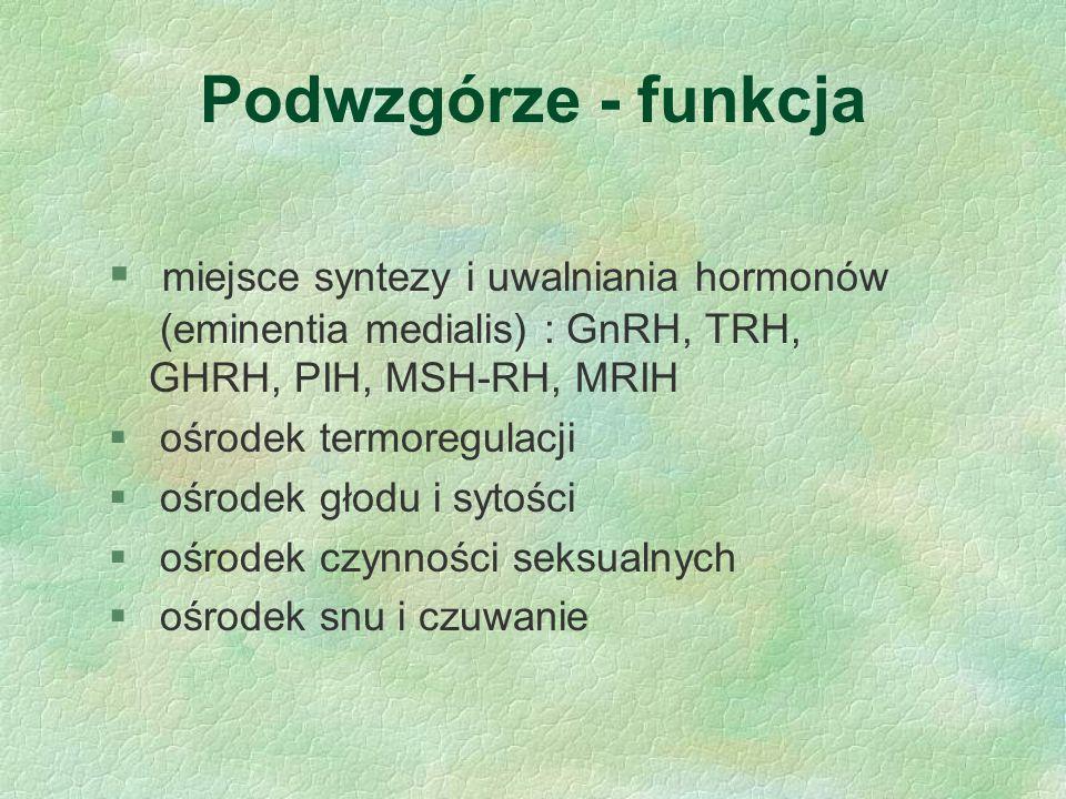 Podwzgórze - funkcja § miejsce syntezy i uwalniania hormonów (eminentia medialis) : GnRH, TRH, GHRH, PIH, MSH-RH, MRIH § ośrodek termoregulacji § ośro