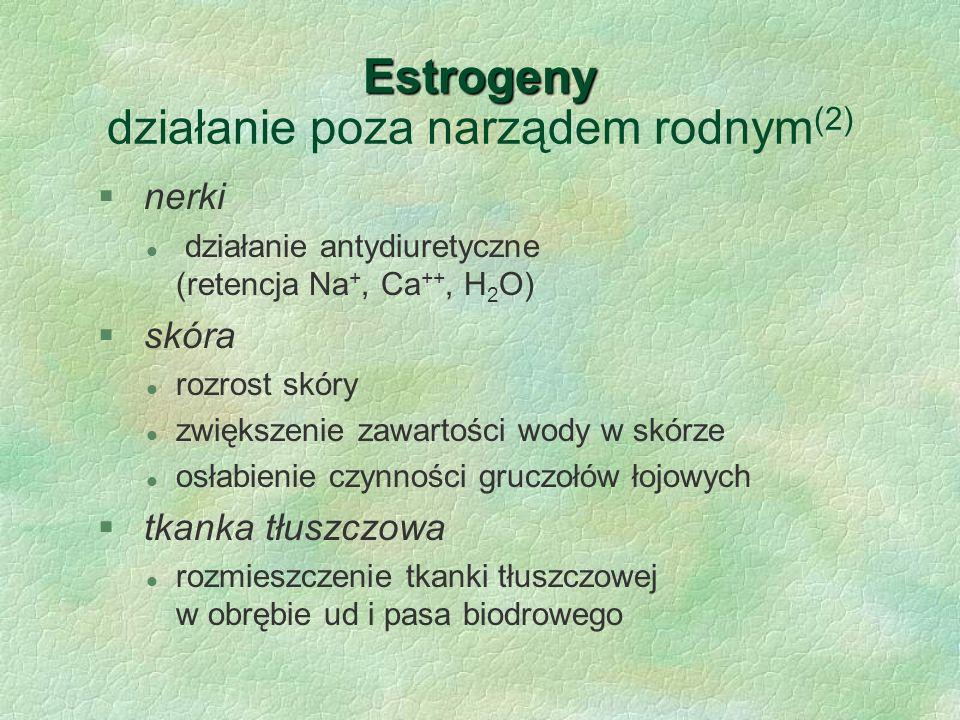 Estrogeny Estrogeny działanie poza narządem rodnym (2) § nerki l działanie antydiuretyczne (retencja Na +, Ca ++, H 2 O) § skóra l rozrost skóry l zwi