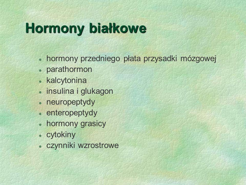 Hormony białkowe l hormony przedniego płata przysadki mózgowej l parathormon l kalcytonina l insulina i glukagon l neuropeptydy l enteropeptydy l horm