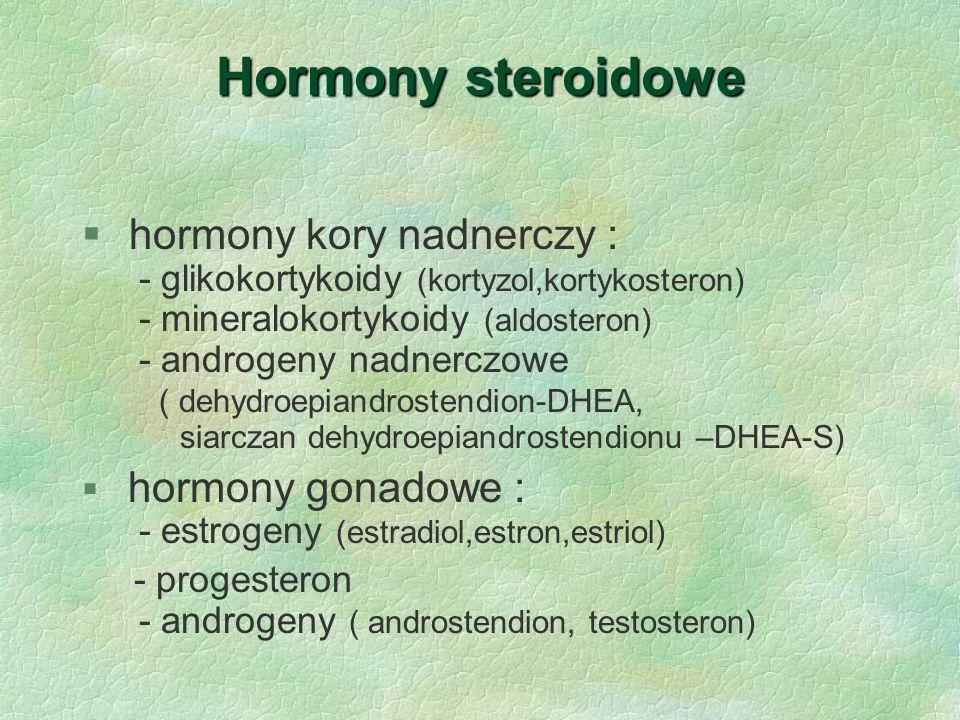 Hormony steroidowe  hormony kory nadnerczy : - glikokortykoidy (kortyzol,kortykosteron) - mineralokortykoidy (aldosteron) - androgeny nadnerczowe ( d