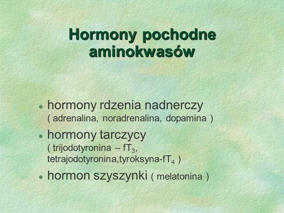Hormony pochodne aminokwasów l hormony rdzenia nadnerczy ( adrenalina, noradrenalina, dopamina ) l hormony tarczycy ( trijodotyronina – fT 3, tetrajod