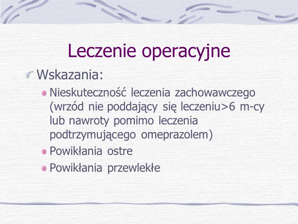 Leczenie operacyjne Wskazania: Nieskuteczność leczenia zachowawczego (wrzód nie poddający się leczeniu>6 m-cy lub nawroty pomimo leczenia podtrzymującego omeprazolem) Powikłania ostre Powikłania przewlekłe