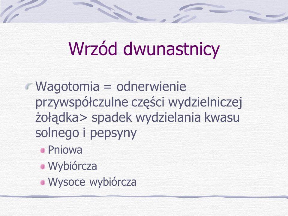 Wrzód dwunastnicy Wagotomia = odnerwienie przywspółczulne części wydzielniczej żołądka> spadek wydzielania kwasu solnego i pepsyny Pniowa Wybiórcza Wysoce wybiórcza