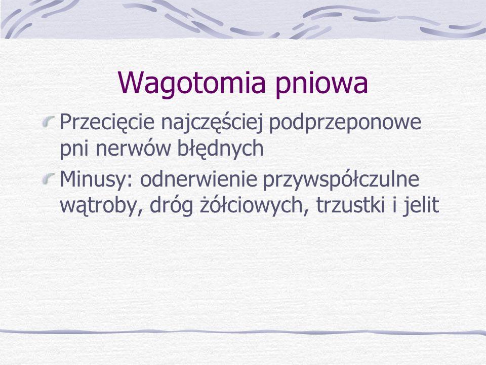 Wagotomia pniowa Przecięcie najczęściej podprzeponowe pni nerwów błędnych Minusy: odnerwienie przywspółczulne wątroby, dróg żółciowych, trzustki i jelit