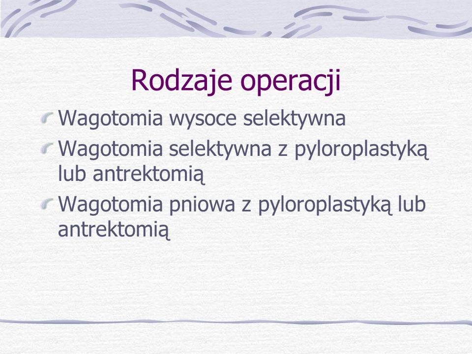 Rodzaje operacji Wagotomia wysoce selektywna Wagotomia selektywna z pyloroplastyką lub antrektomią Wagotomia pniowa z pyloroplastyką lub antrektomią