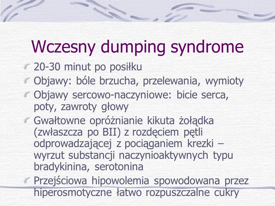 Wczesny dumping syndrome 20-30 minut po posiłku Objawy: bóle brzucha, przelewania, wymioty Objawy sercowo-naczyniowe: bicie serca, poty, zawroty głowy Gwałtowne opróżnianie kikuta żołądka (zwłaszcza po BII) z rozdęciem pętli odprowadzającej z pociąganiem krezki – wyrzut substancji naczynioaktywnych typu bradykinina, serotonina Przejściowa hipowolemia spowodowana przez hiperosmotyczne łatwo rozpuszczalne cukry
