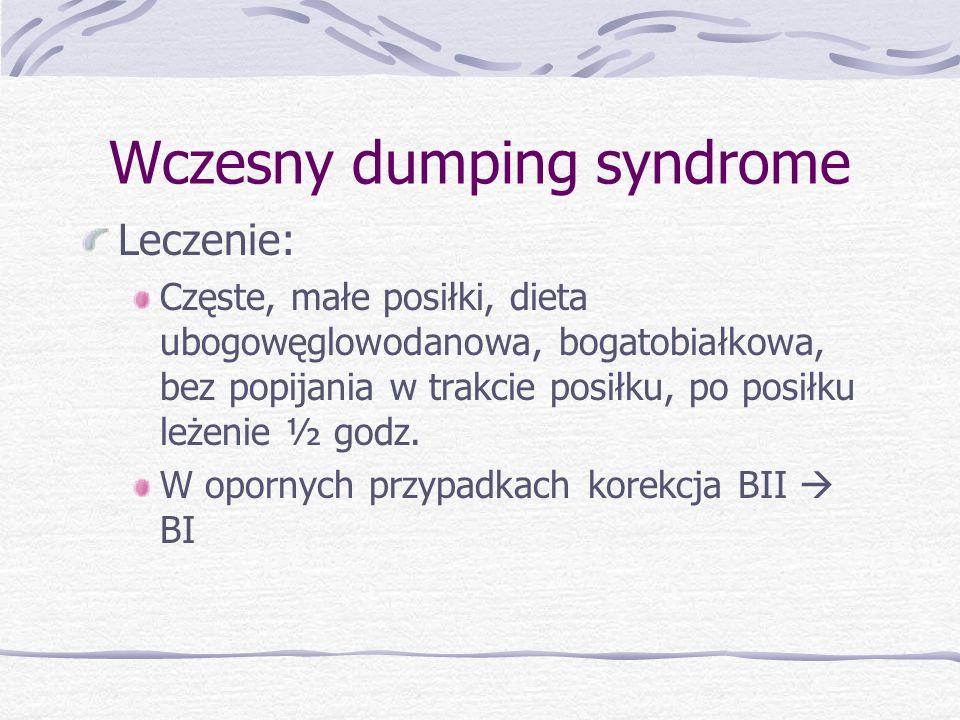Wczesny dumping syndrome Leczenie: Częste, małe posiłki, dieta ubogowęglowodanowa, bogatobiałkowa, bez popijania w trakcie posiłku, po posiłku leżenie ½ godz.