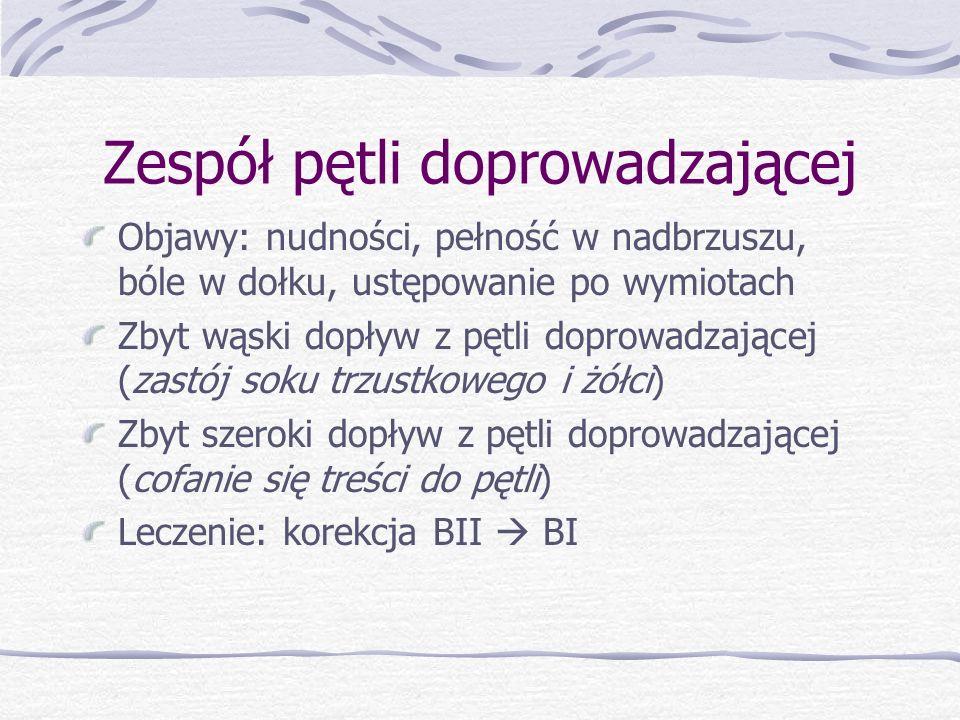 Zespół pętli doprowadzającej Objawy: nudności, pełność w nadbrzuszu, bóle w dołku, ustępowanie po wymiotach Zbyt wąski dopływ z pętli doprowadzającej (zastój soku trzustkowego i żółci) Zbyt szeroki dopływ z pętli doprowadzającej (cofanie się treści do pętli) Leczenie: korekcja BII  BI
