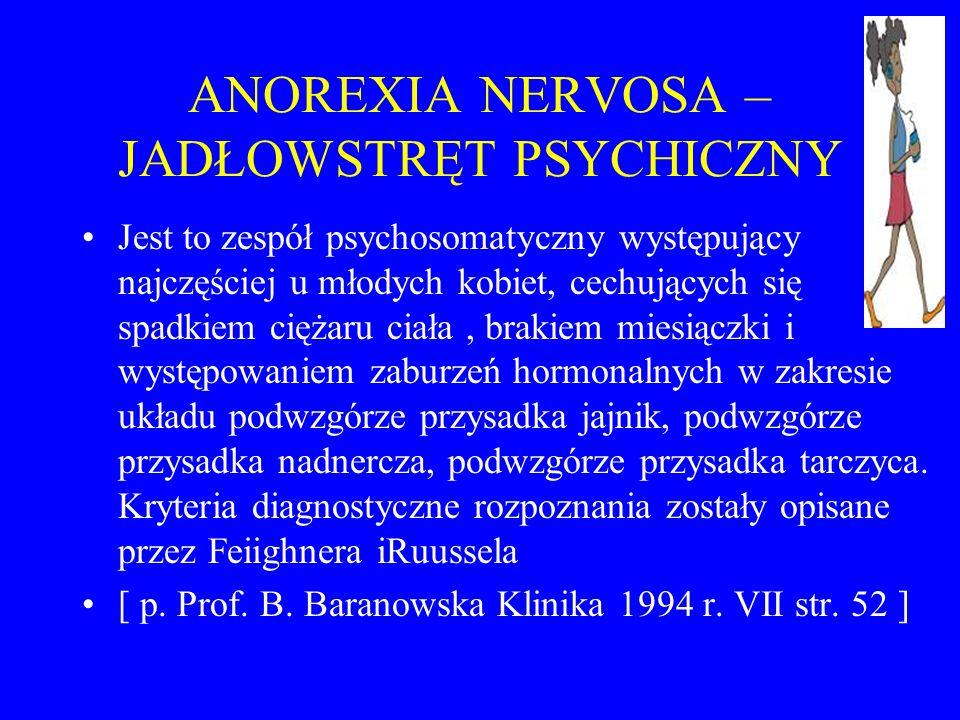 ANOREXIA NERVOSA – JADŁOWSTRĘT PSYCHICZNY Jest to zespół psychosomatyczny występujący najczęściej u młodych kobiet, cechujących się spadkiem ciężaru c