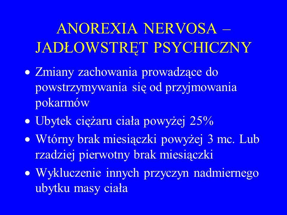 ANOREXIA NERVOSA – JADŁOWSTRĘT PSYCHICZNY  Zmiany zachowania prowadzące do powstrzymywania się od przyjmowania pokarmów  Ubytek ciężaru ciała powyże