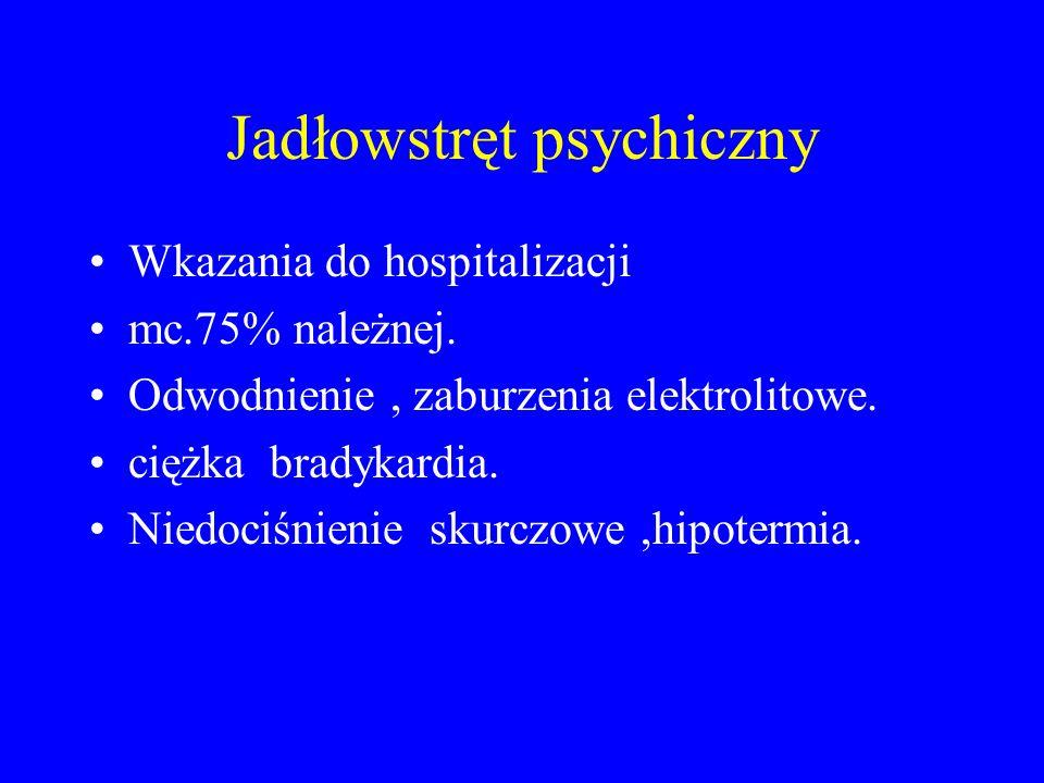 Jadłowstręt psychiczny Wkazania do hospitalizacji mc.75% należnej. Odwodnienie, zaburzenia elektrolitowe. ciężka bradykardia. Niedociśnienie skurczowe