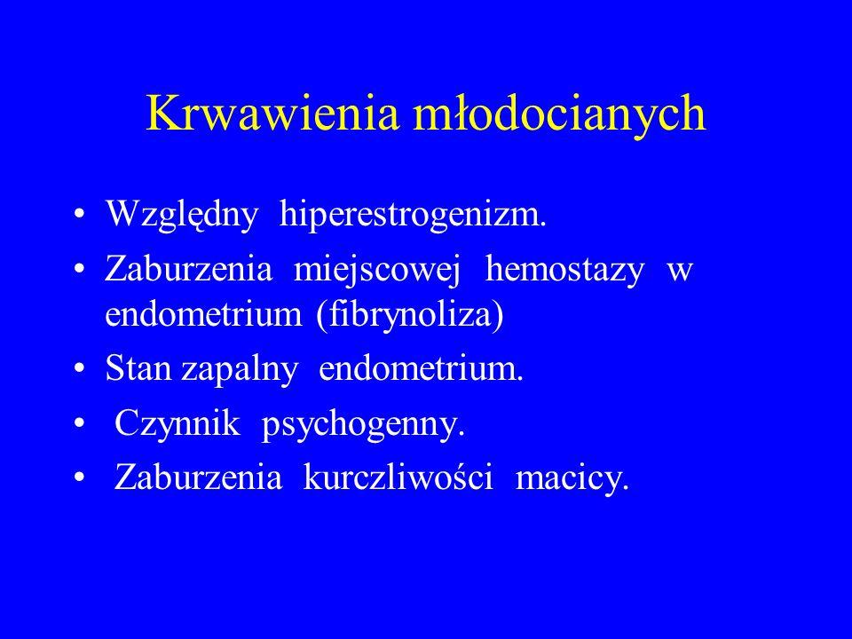Krwawienia młodocianych Względny hiperestrogenizm. Zaburzenia miejscowej hemostazy w endometrium (fibrynoliza) Stan zapalny endometrium. Czynnik psych