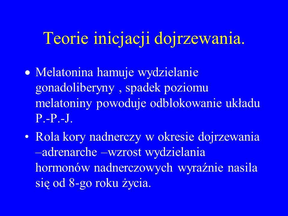 Teorie inicjacji dojrzewania.  Melatonina hamuje wydzielanie gonadoliberyny, spadek poziomu melatoniny powoduje odblokowanie układu P.-P.-J. Rola kor