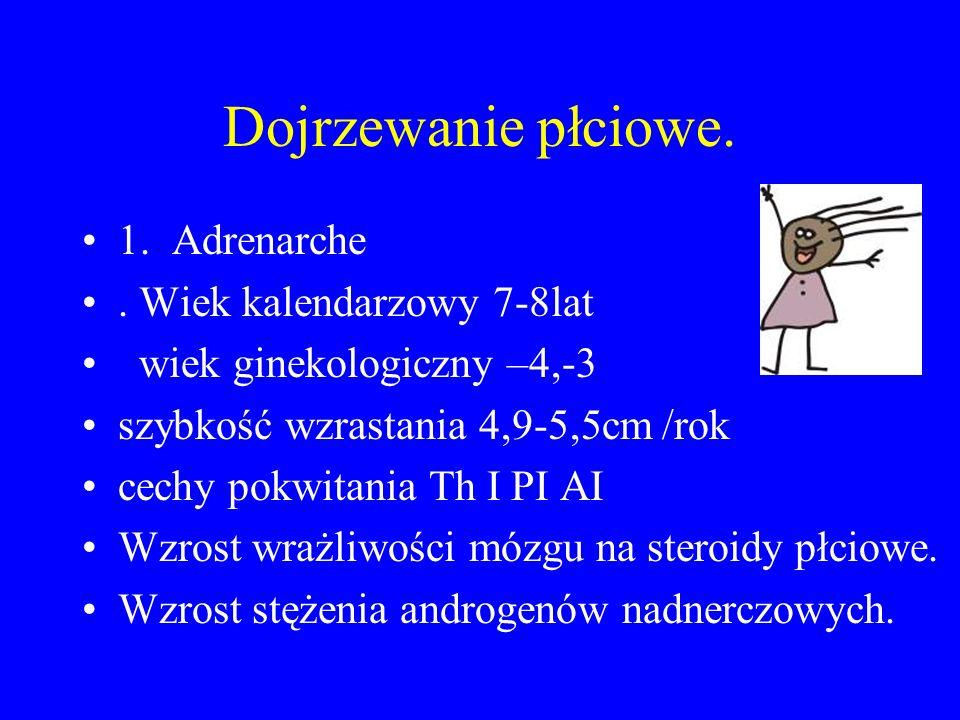 Dojrzewanie płciowe. 1. Adrenarche. Wiek kalendarzowy 7-8lat wiek ginekologiczny –4,-3 szybkość wzrastania 4,9-5,5cm /rok cechy pokwitania Th I PI AI