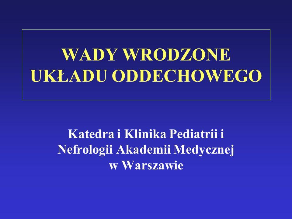 WADY WRODZONE UKŁADU ODDECHOWEGO Katedra i Klinika Pediatrii i Nefrologii Akademii Medycznej w Warszawie