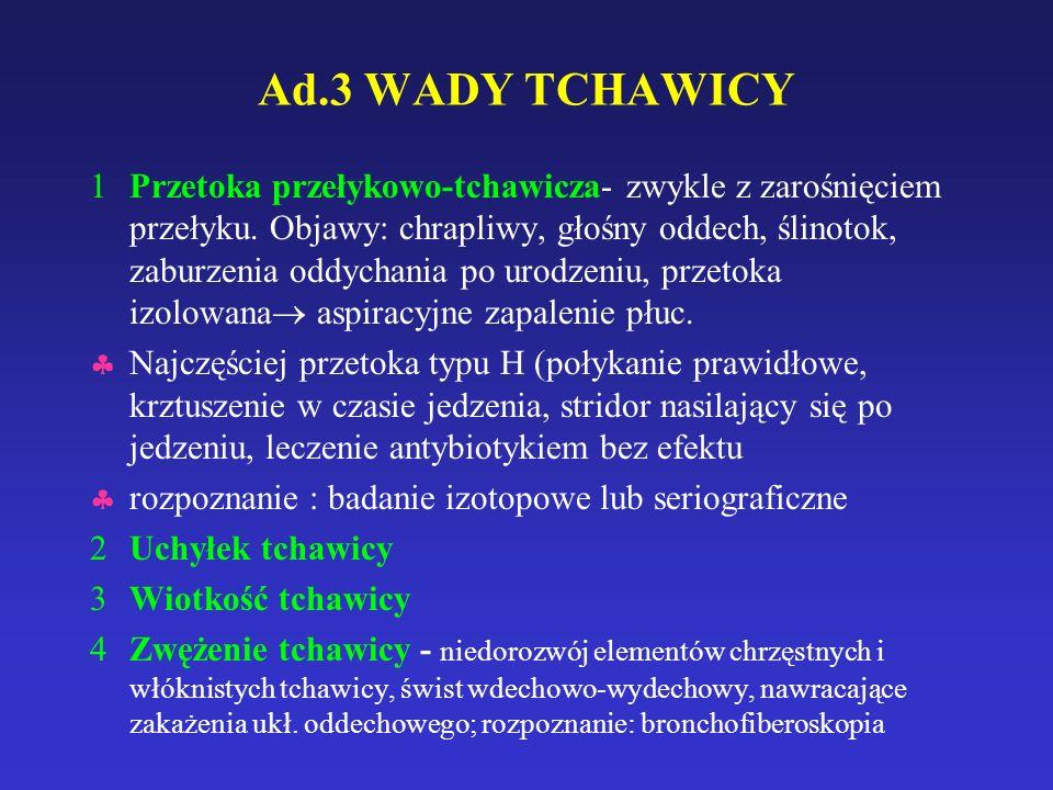 Ad.3 WADY TCHAWICY 1Przetoka przełykowo-tchawicza- zwykle z zarośnięciem przełyku.