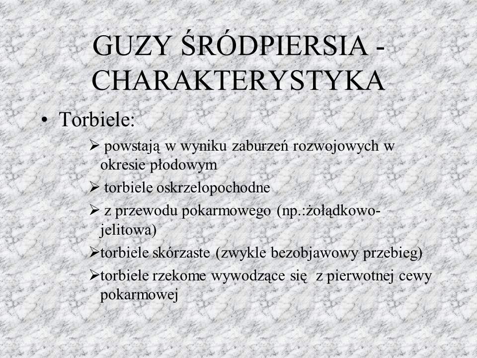 GUZY ŚRÓDPIERSIA - CHARAKTERYSTYKA Torbiele:  powstają w wyniku zaburzeń rozwojowych w okresie płodowym  torbiele oskrzelopochodne  z przewodu poka