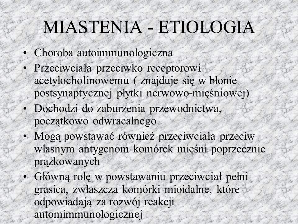 MIASTENIA - ETIOLOGIA Choroba autoimmunologiczna Przeciwciała przeciwko receptorowi acetylocholinowemu ( znajduje się w błonie postsynaptycznej płytki