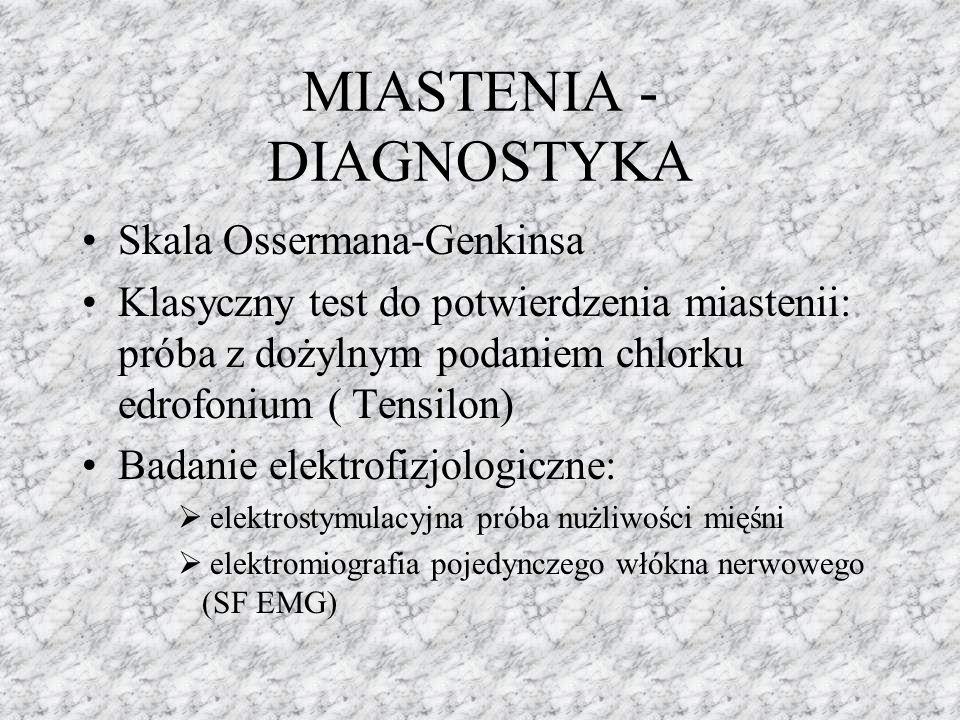 MIASTENIA - DIAGNOSTYKA Skala Ossermana-Genkinsa Klasyczny test do potwierdzenia miastenii: próba z dożylnym podaniem chlorku edrofonium ( Tensilon) B