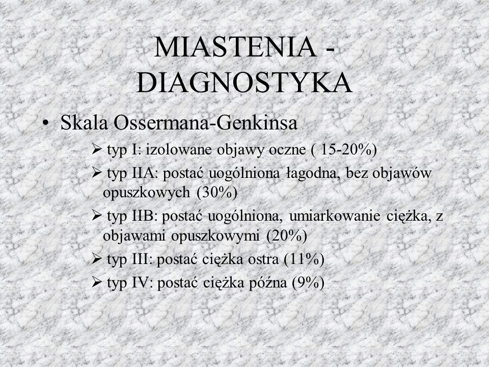 MIASTENIA - DIAGNOSTYKA Skala Ossermana-Genkinsa  typ I: izolowane objawy oczne ( 15-20%)  typ IIA: postać uogólniona łagodna, bez objawów opuszkowy
