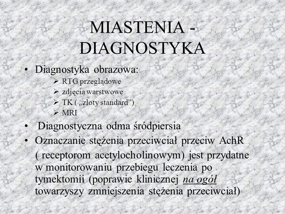 """MIASTENIA - DIAGNOSTYKA Diagnostyka obrazowa:  RTG przeglądowe  zdjęcia warstwowe  TK ( """"zloty standard"""")  MRI Diagnostyczna odma śródpiersia Ozna"""