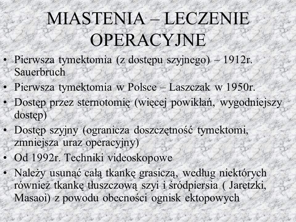 MIASTENIA – LECZENIE OPERACYJNE Pierwsza tymektomia (z dostępu szyjnego) – 1912r. Sauerbruch Pierwsza tymektomia w Polsce – Laszczak w 1950r. Dostęp p