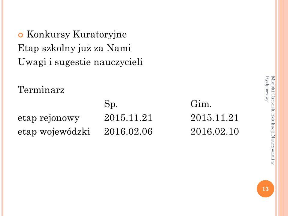 Konkursy Kuratoryjne Etap szkolny już za Nami Uwagi i sugestie nauczycieli Terminarz Sp.Gim.