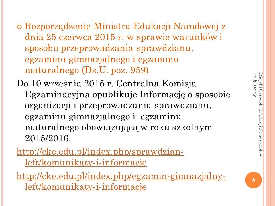 Rozporządzenie Ministra Edukacji Narodowej z dnia 25 czerwca 2015 r.