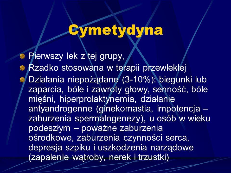 Cymetydyna Pierwszy lek z tej grupy, Rzadko stosowana w terapii przewlekłej Działania niepożądane (3-10%): biegunki lub zaparcia, bóle i zawroty głowy, senność, bóle mięśni, hiperprolaktynemia, działanie antyandrogenne (ginekomastia, impotencja – zaburzenia spermatogenezy), u osób w wieku podeszłym – poważne zaburzenia ośrodkowe, zaburzenia czynności serca, depresja szpiku i uszkodzenia narządowe (zapalenie wątroby, nerek i trzustki)