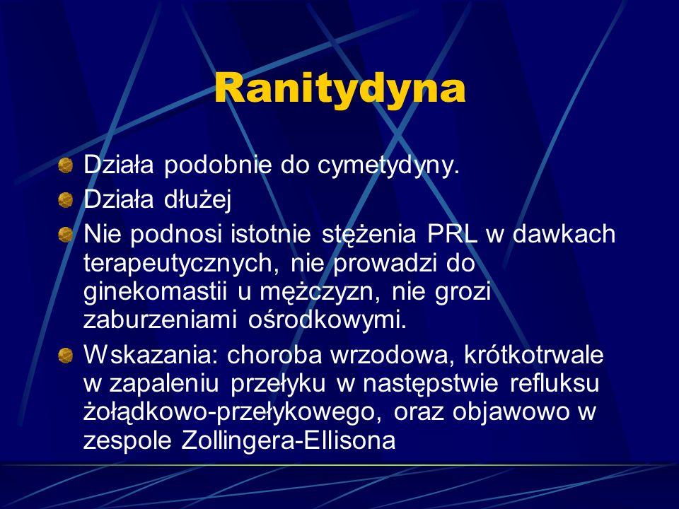 Ranitydyna Działa podobnie do cymetydyny. Działa dłużej Nie podnosi istotnie stężenia PRL w dawkach terapeutycznych, nie prowadzi do ginekomastii u mę