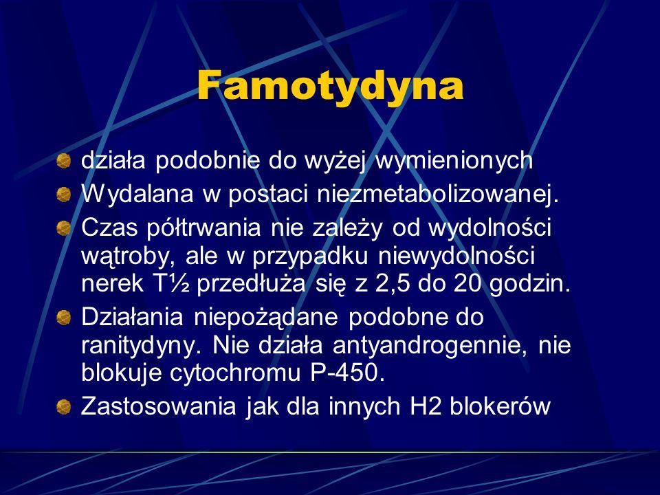 Famotydyna działa podobnie do wyżej wymienionych Wydalana w postaci niezmetabolizowanej. Czas półtrwania nie zależy od wydolności wątroby, ale w przyp