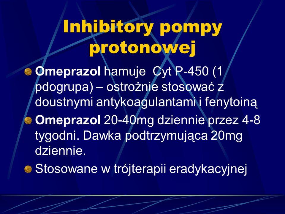 Inhibitory pompy protonowej Omeprazol hamuje Cyt P-450 (1 pdogrupa) – ostrożnie stosować z doustnymi antykoagulantami i fenytoiną Omeprazol 20-40mg dz