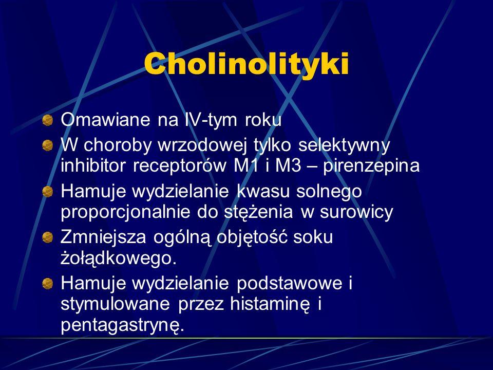 Cholinolityki Omawiane na IV-tym roku W choroby wrzodowej tylko selektywny inhibitor receptorów M1 i M3 – pirenzepina Hamuje wydzielanie kwasu solnego proporcjonalnie do stężenia w surowicy Zmniejsza ogólną objętość soku żołądkowego.