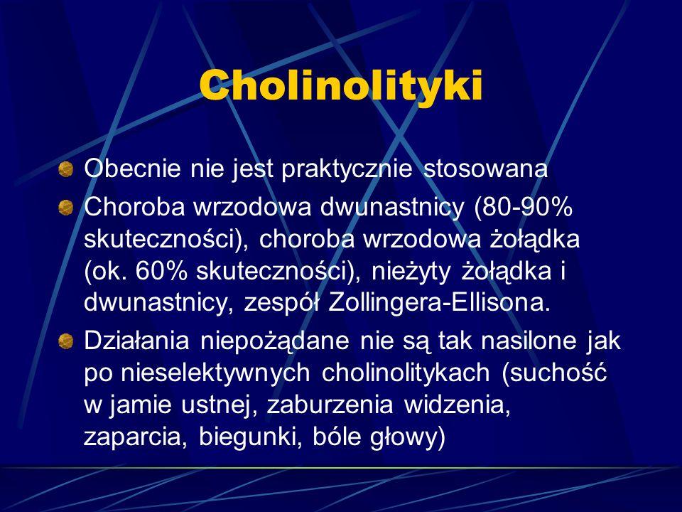 Cholinolityki Obecnie nie jest praktycznie stosowana Choroba wrzodowa dwunastnicy (80-90% skuteczności), choroba wrzodowa żołądka (ok. 60% skutecznośc