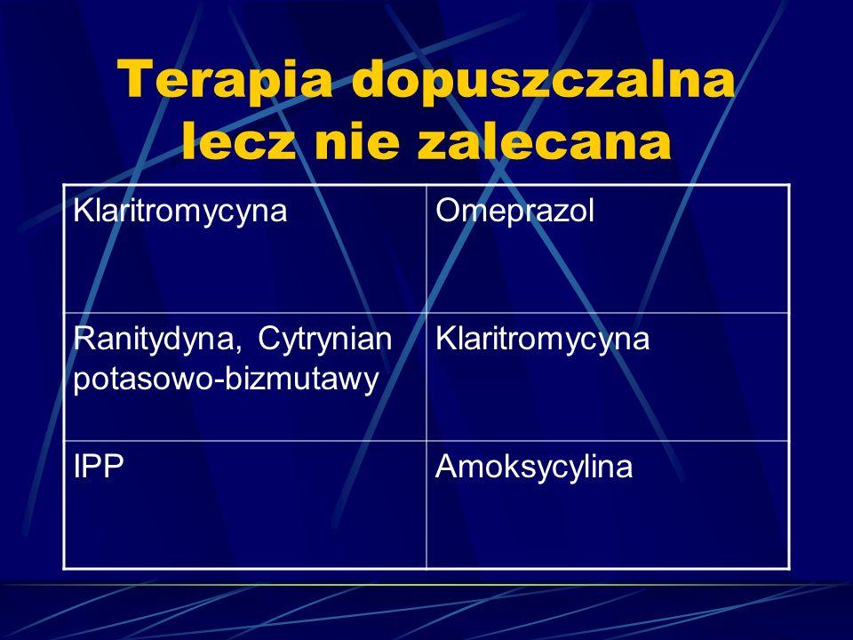 Terapia dopuszczalna lecz nie zalecana KlaritromycynaOmeprazol Ranitydyna, Cytrynian potasowo-bizmutawy Klaritromycyna IPPAmoksycylina