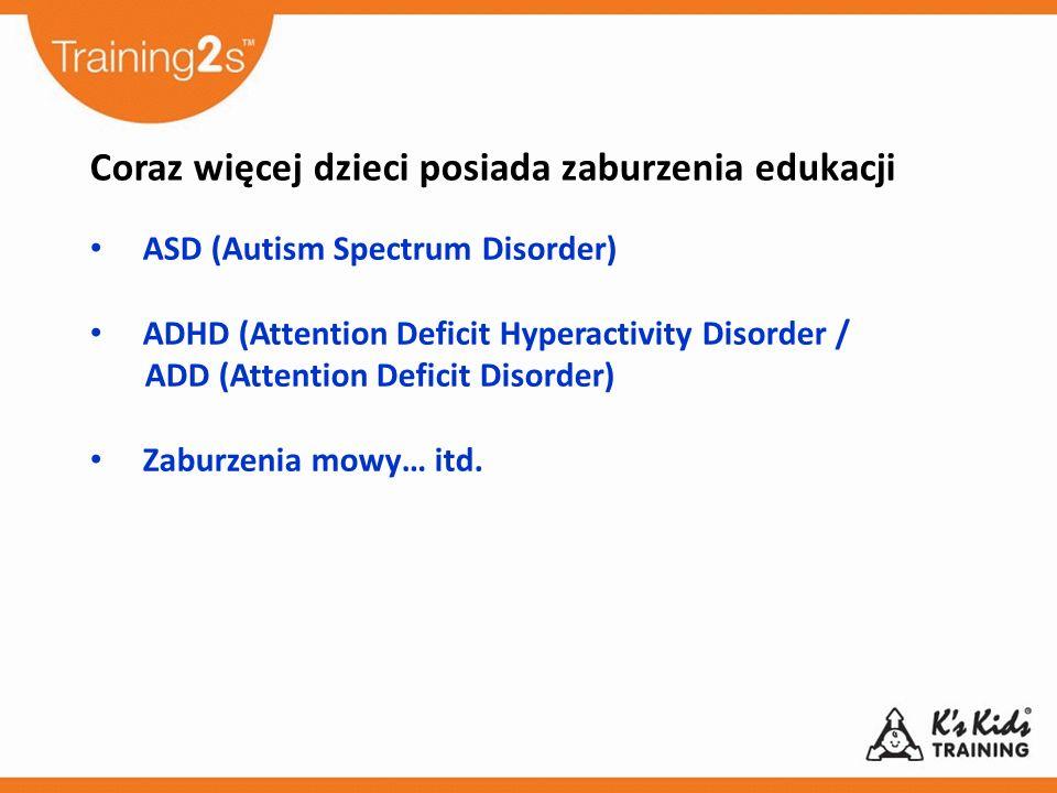 Coraz więcej dzieci posiada zaburzenia edukacji ASD (Autism Spectrum Disorder) ADHD (Attention Deficit Hyperactivity Disorder / ADD (Attention Deficit Disorder) Zaburzenia mowy… itd.