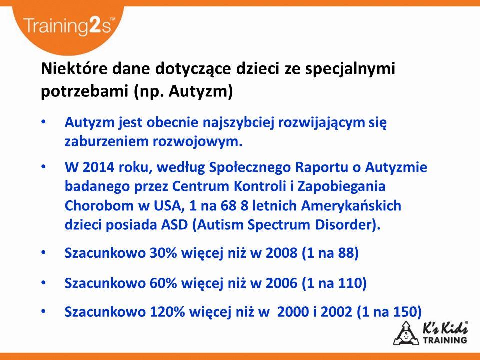 Niektóre dane dotyczące dzieci ze specjalnymi potrzebami (np. Autyzm) Autyzm jest obecnie najszybciej rozwijającym się zaburzeniem rozwojowym. W 2014