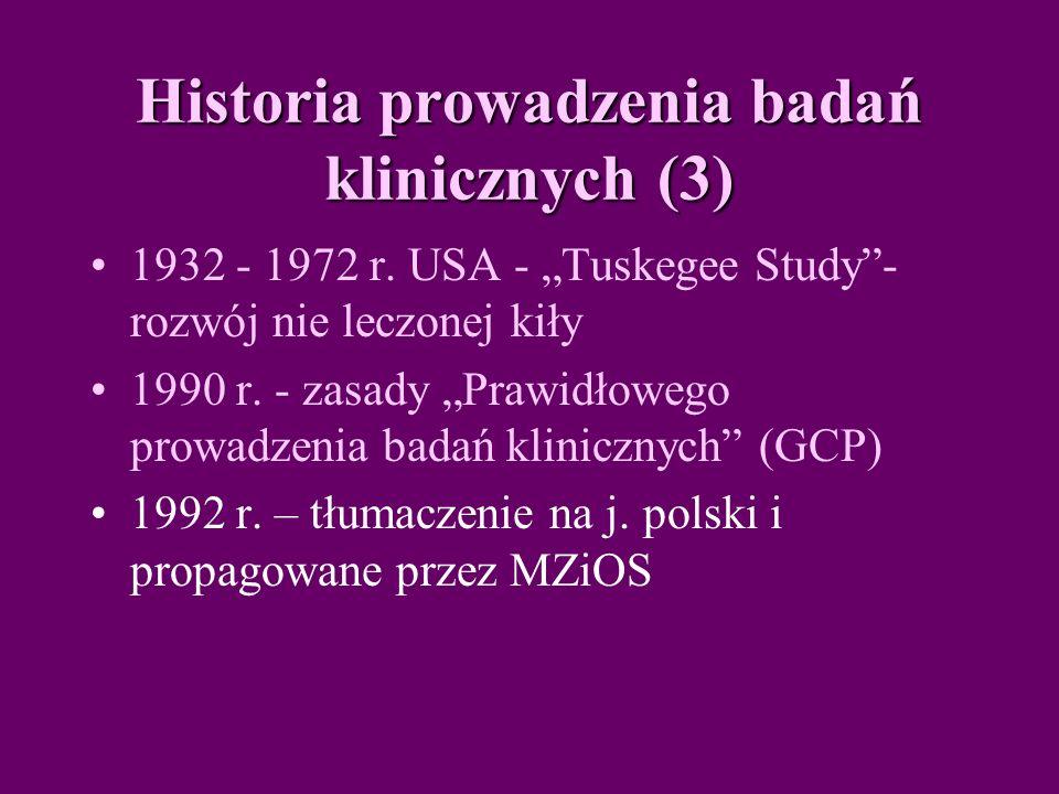 Historia prowadzenia badań klinicznych (3) 1932 - 1972 r.