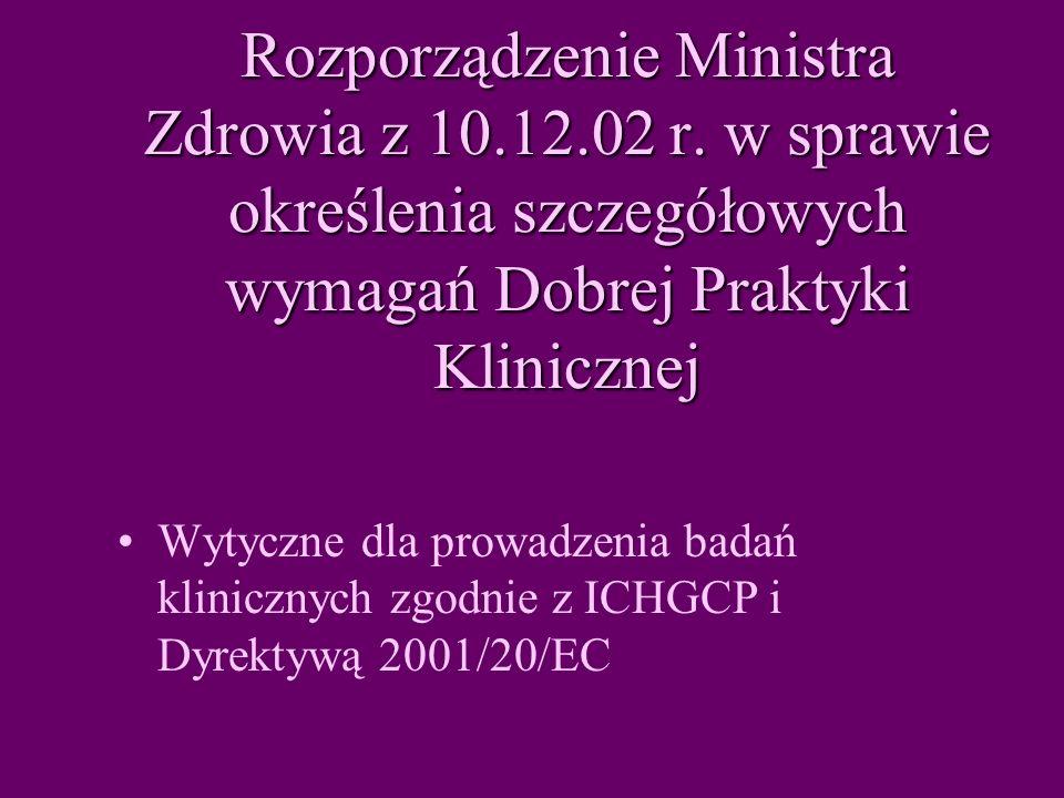 Rozporządzenie Ministra Zdrowia z 10.12.02 r.