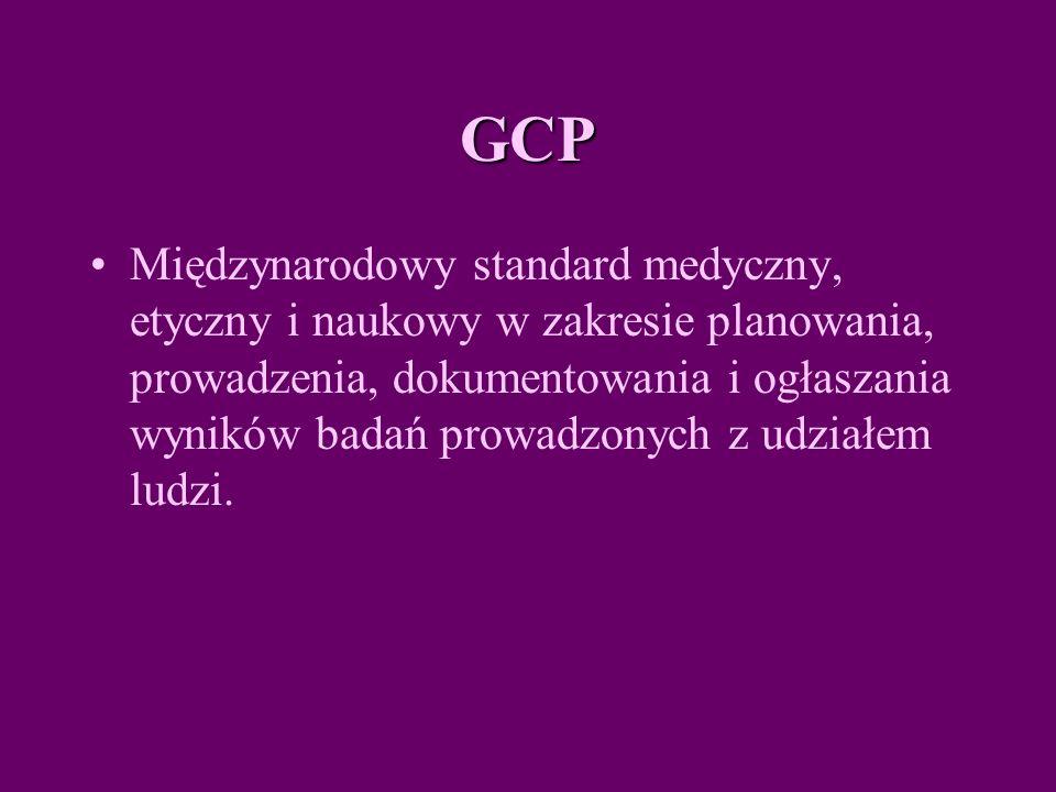 GCP Międzynarodowy standard medyczny, etyczny i naukowy w zakresie planowania, prowadzenia, dokumentowania i ogłaszania wyników badań prowadzonych z udziałem ludzi.