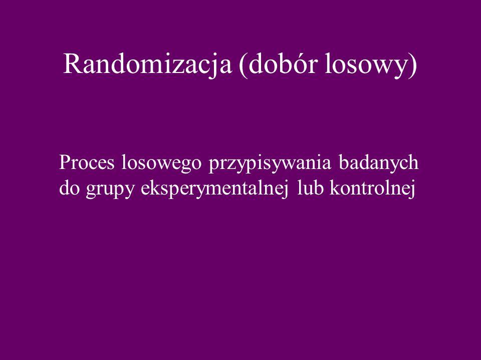 Randomizacja (dobór losowy) Proces losowego przypisywania badanych do grupy eksperymentalnej lub kontrolnej