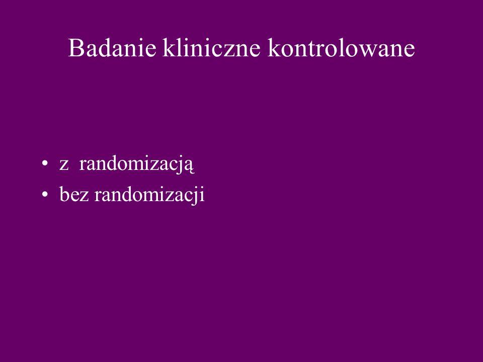 Badanie kliniczne kontrolowane z randomizacją bez randomizacji