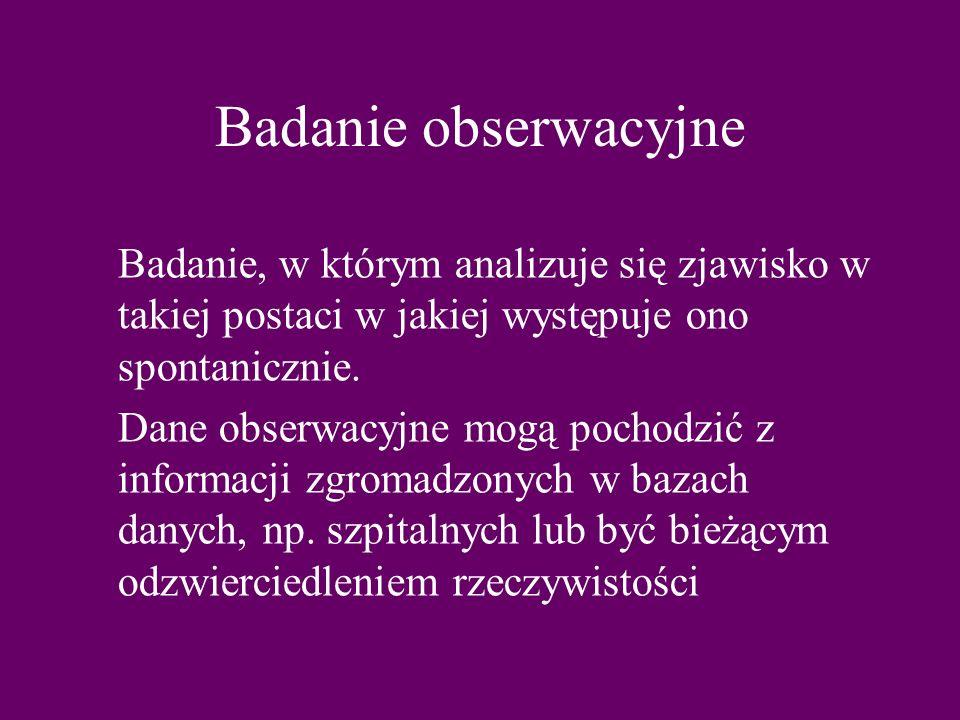Badanie obserwacyjne Badanie, w którym analizuje się zjawisko w takiej postaci w jakiej występuje ono spontanicznie.