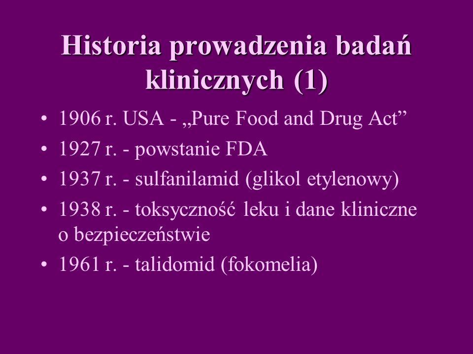 Historia prowadzenia badań klinicznych (1) 1906 r.