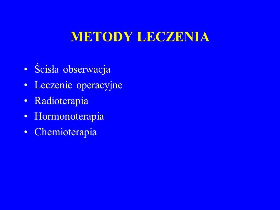 METODY LECZENIA Ścisła obserwacja Leczenie operacyjne Radioterapia Hormonoterapia Chemioterapia