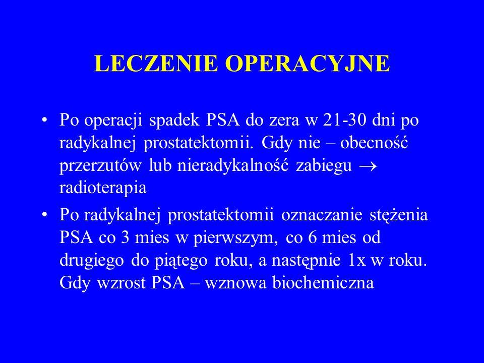 LECZENIE OPERACYJNE Po operacji spadek PSA do zera w 21-30 dni po radykalnej prostatektomii.