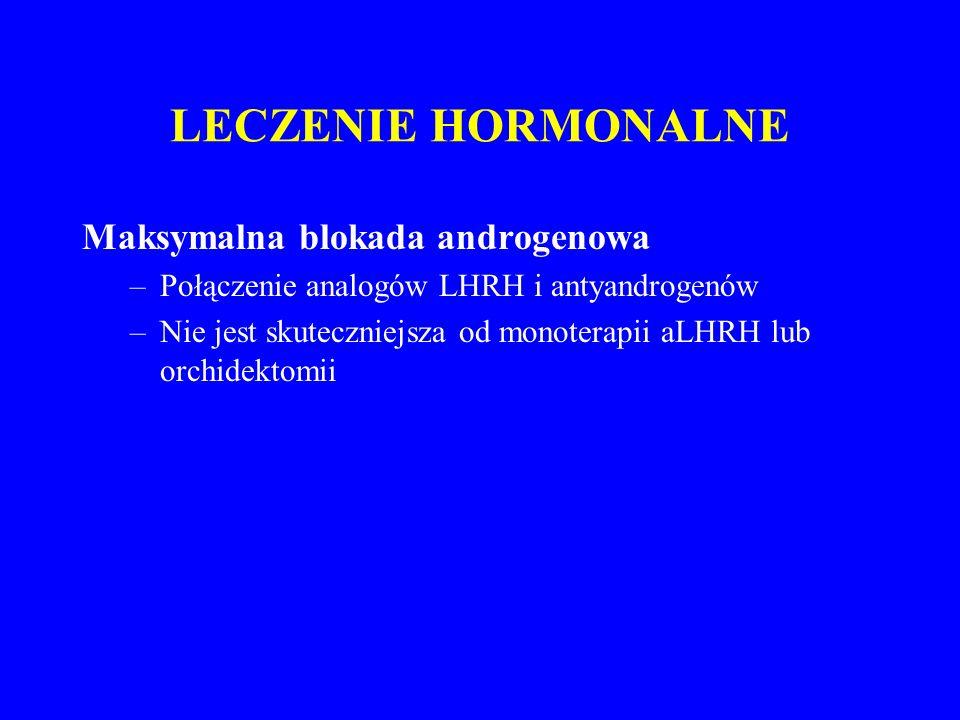 LECZENIE HORMONALNE Maksymalna blokada androgenowa –Połączenie analogów LHRH i antyandrogenów –Nie jest skuteczniejsza od monoterapii aLHRH lub orchidektomii